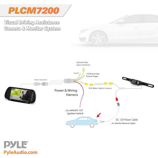 the system comes all the necessary cables and wiring for connection  drive  safer and smarter with the pyle plcm7200 backup camera and monitor system